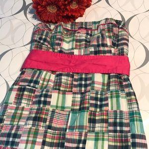 NWT Vineyard Vines Madras print strapless dress